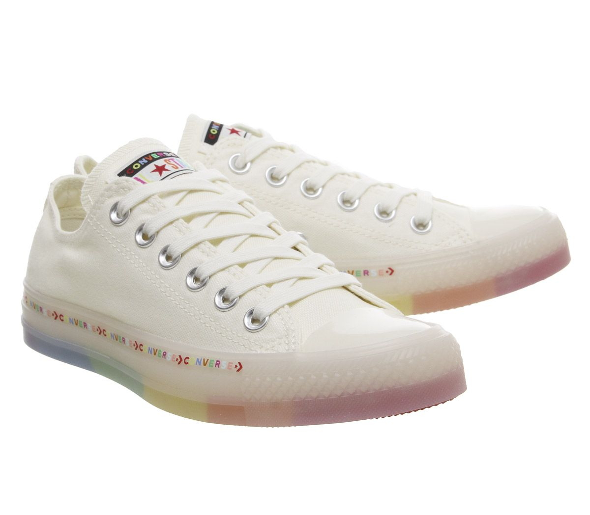 Details zu Womens Converse Converse All Star Low Trainers Egret White Rainbow Exclusive Tra
