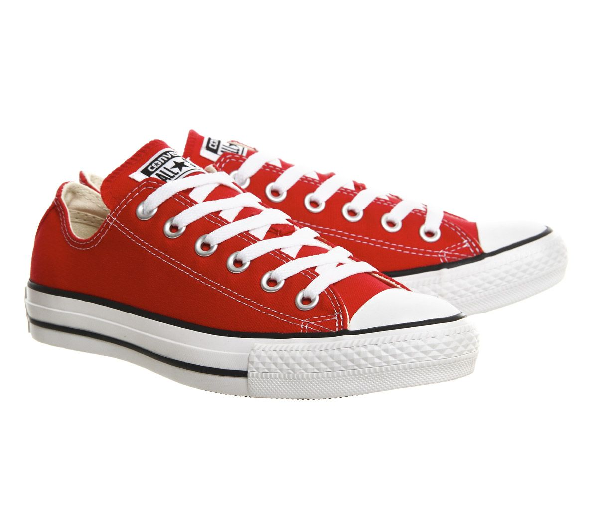 66d26a16 Sentinel Mens Converse All Star Low Red Canvas Trainers Shoes