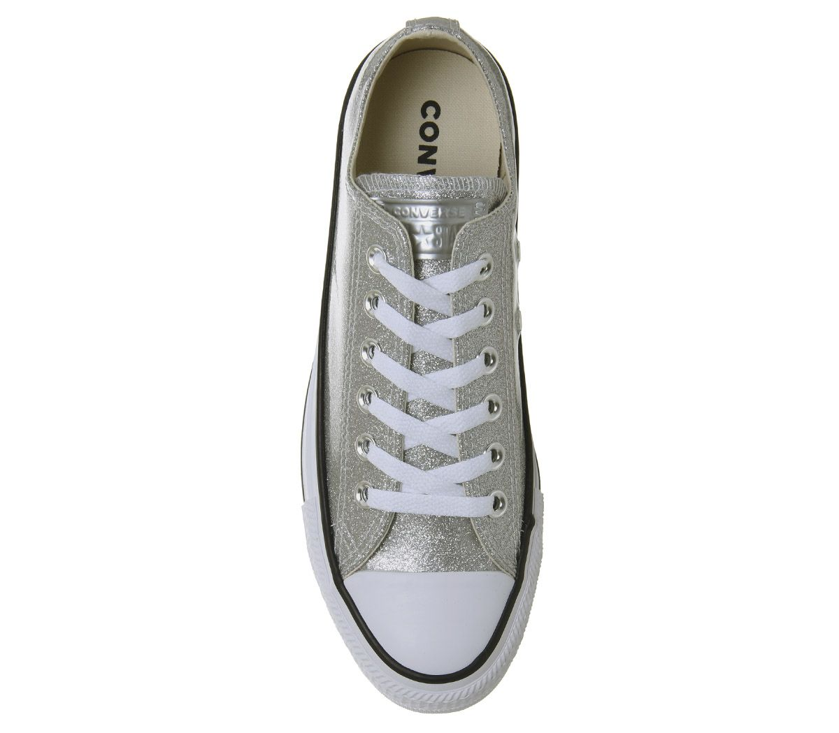 Womens-Converse-Converse-All-Star-Low-Trainers-Silver-White-Trainers-Shoes thumbnail 10