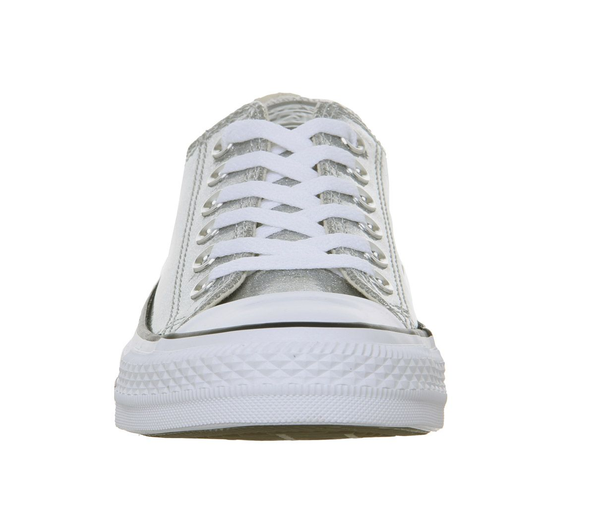 Womens-Converse-Converse-All-Star-Low-Trainers-Silver-White-Trainers-Shoes thumbnail 6