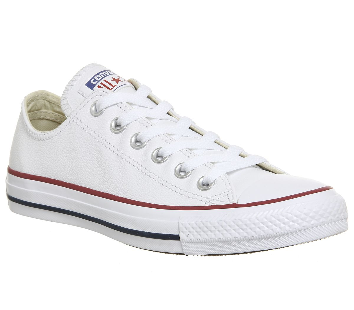 Details about Womens Converse All Star Low Leather Optical White Trainers Shoes