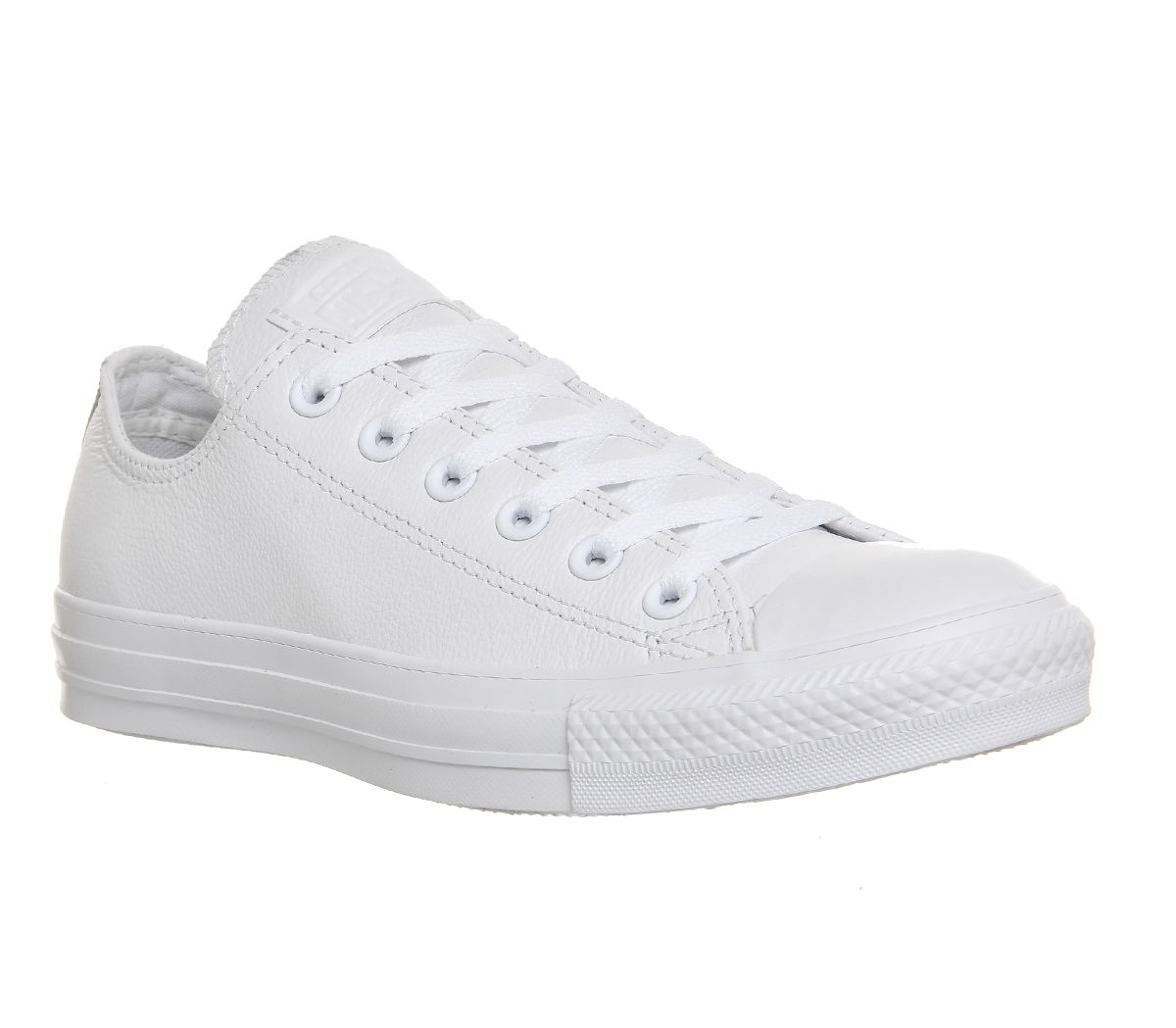 d3a0939f Sentinel Womens Converse All Star Low Leather White Mono Leather Trainers  Shoes
