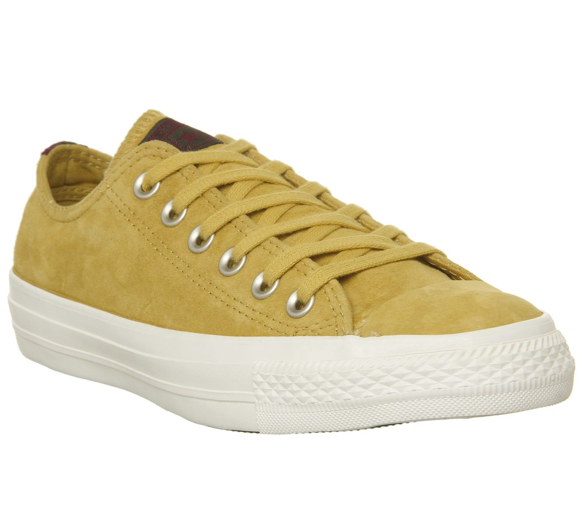 d6c7fcef5956 Sentinel Mens Converse All Star Low Leather Trainers Desert Marigold Egret  Heel Stripe Ex