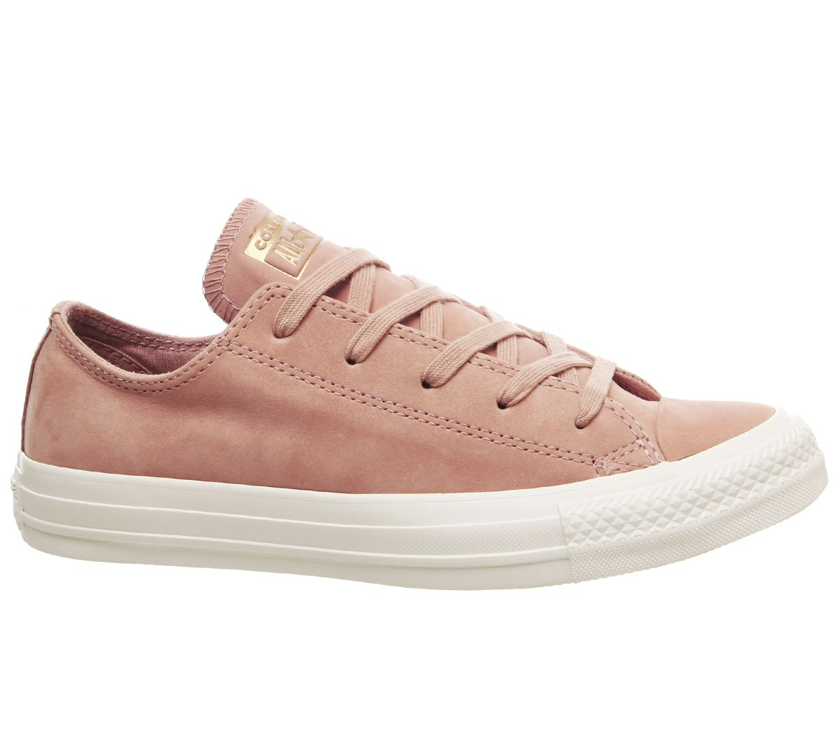 Details about Womens Converse Allstar Low Leather Trainers Rose Gold Egret Minimal Exclusive T