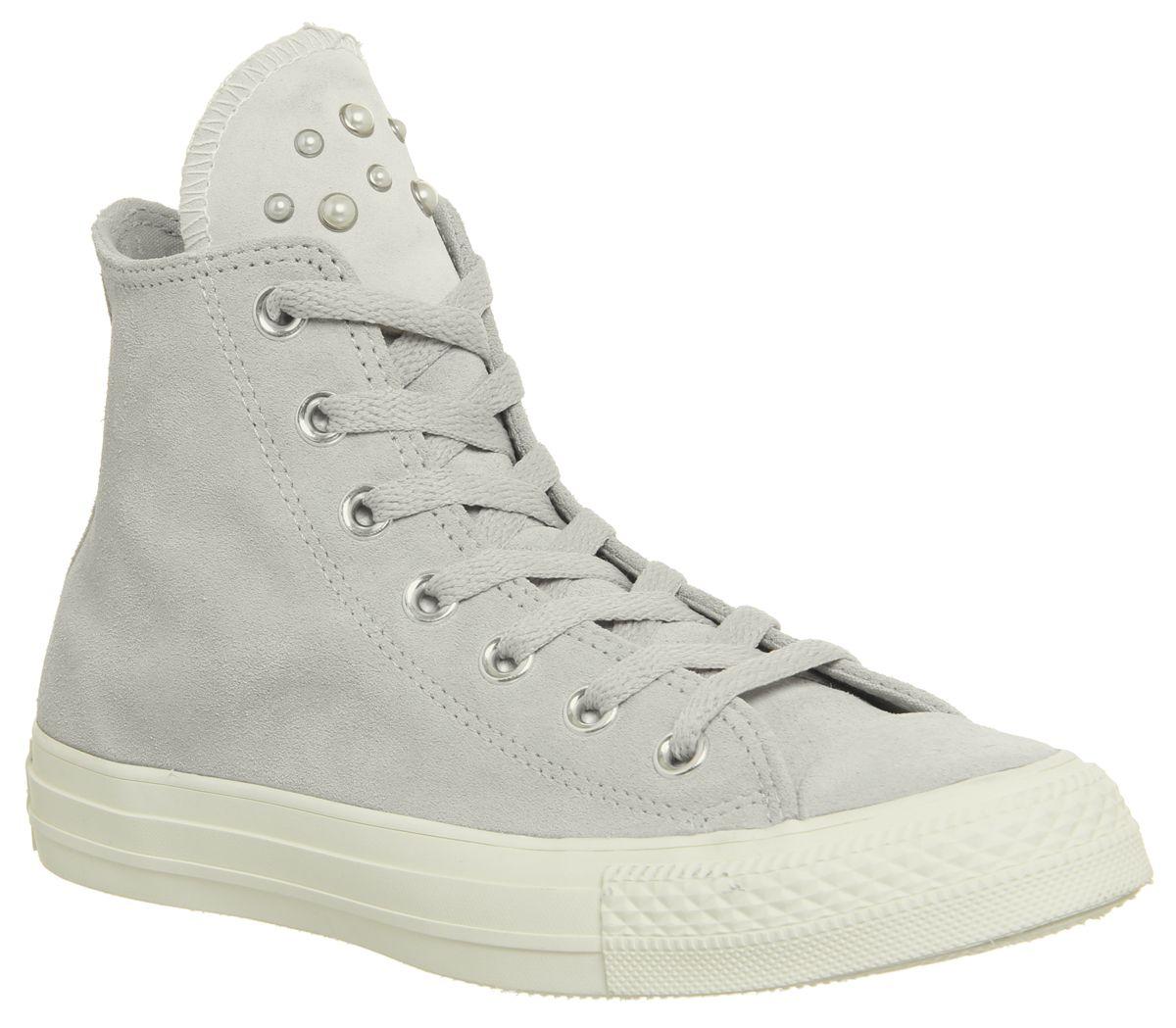 7fb77ed80a5a9 Détails sur Chaussures Femme Converse All Star Hi Cuir Ash Gris Egret Blush  Pearl Exclusive Trainer- afficher le titre d origine