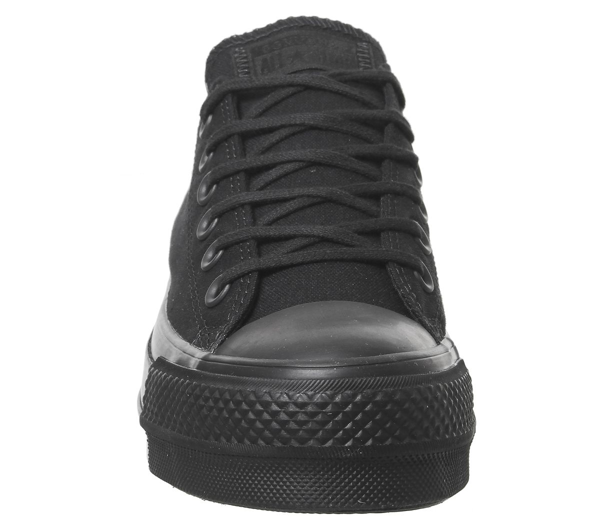b0a38b2769b189 Sentinel Womens Converse All Star Low Platform Trainers Black Mono Trainers  Shoes