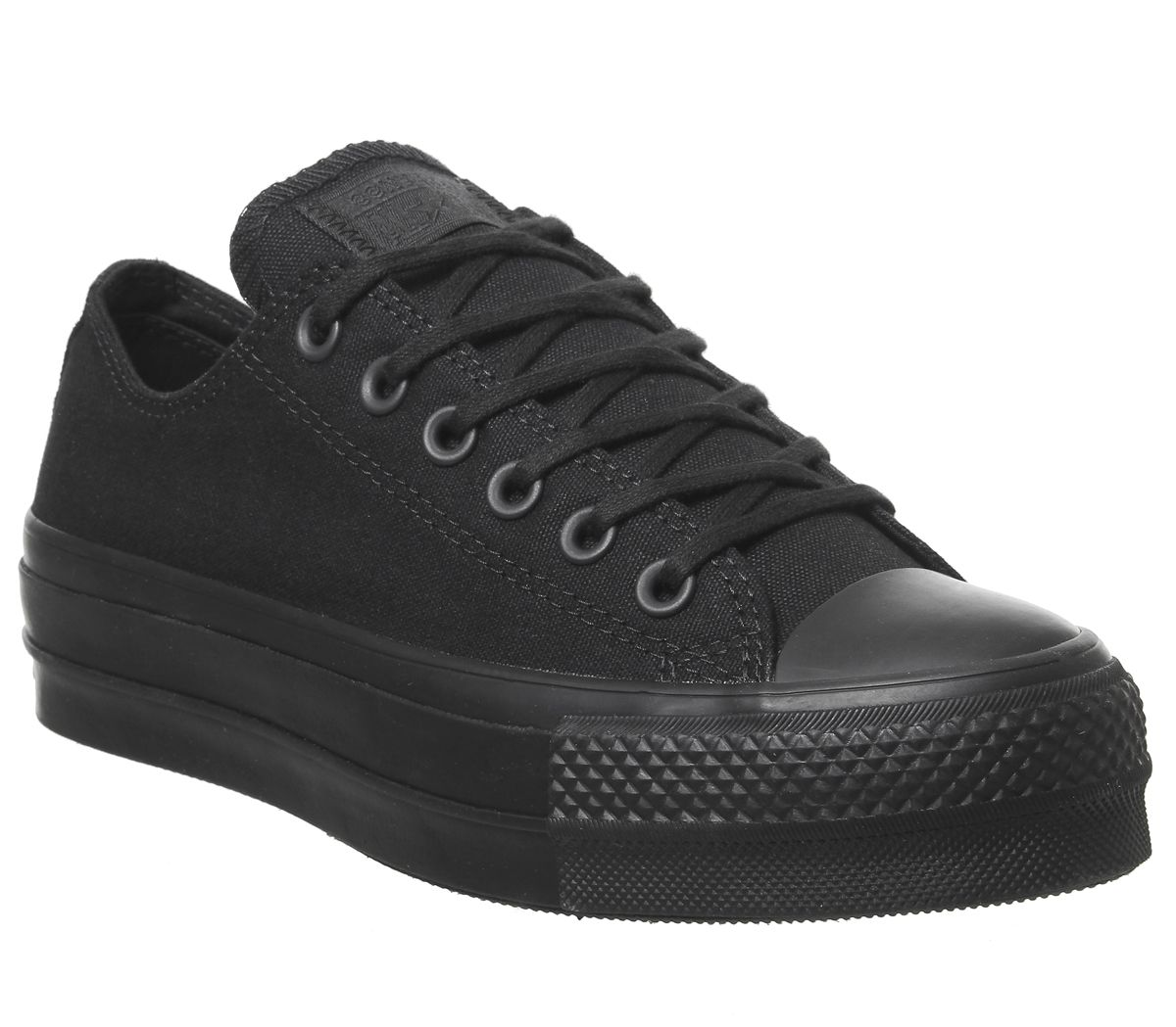 eccb09dd2220 Sentinel Womens Converse All Star Low Platform Trainers Black Mono Trainers  Shoes