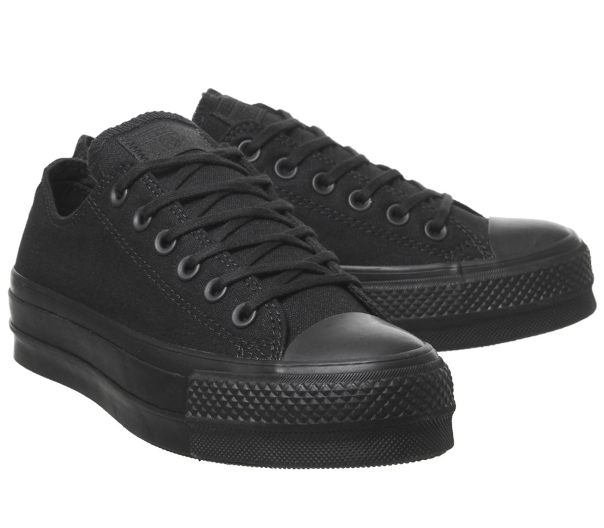 6c9c54009004b Sentinel Womens Converse All Star Low Platform Trainers Black Mono Trainers  Shoes