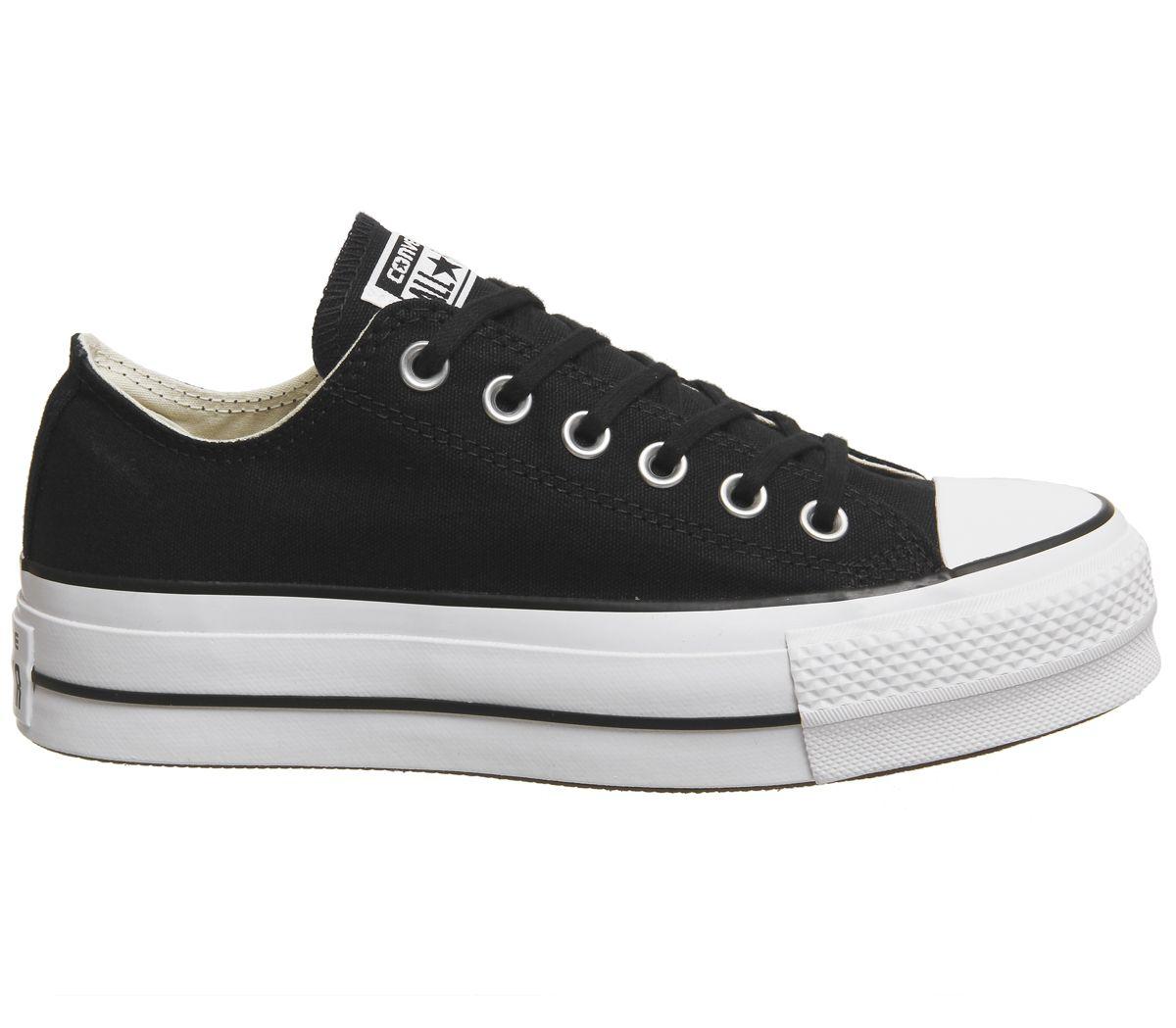 924767c9e786 Sentinel Womens Converse All Star Low Platform Black Black White Trainers  Shoes