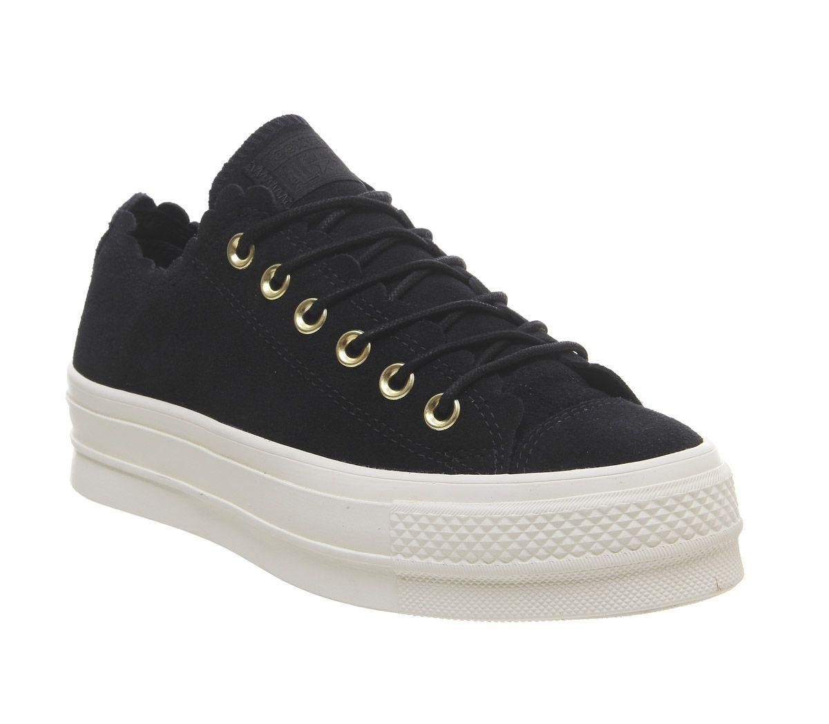 a6f7857ca6275a Détails sur Femmes Converse All Star Bas Chaussures Plateforme Doré Noir  Egret à Volants