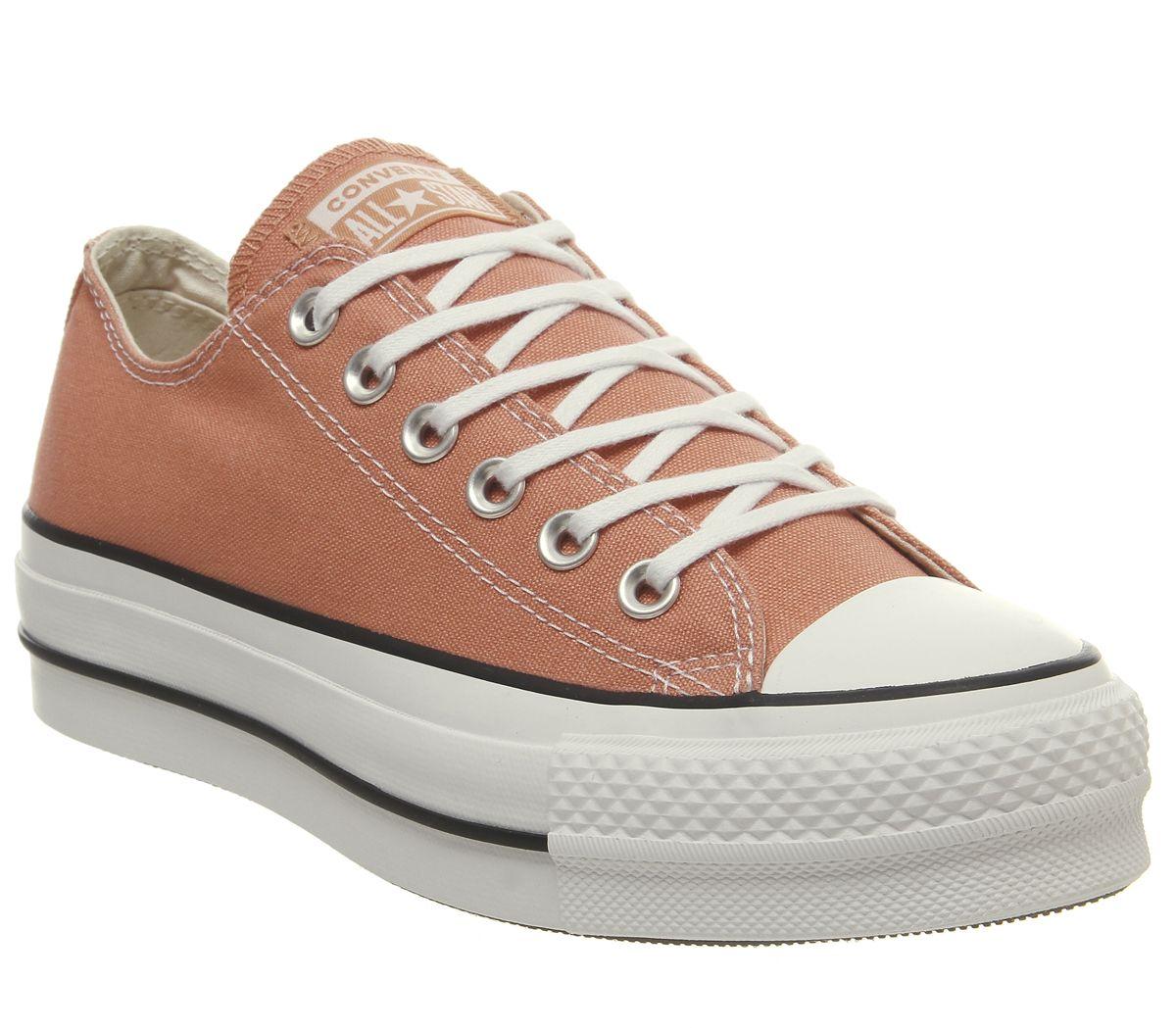 bd3fe63d3b SENTINEL Womens Converse All Star bassa piattaforma formatori deserto pesca  allenatori bianco scarpe