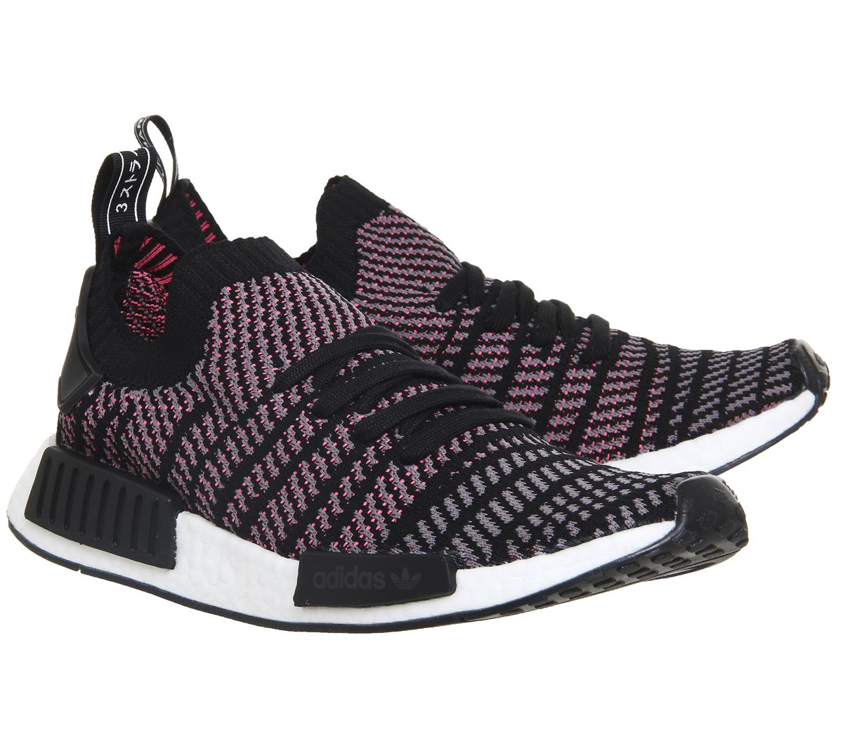 newest ba201 424d4 Details about Mens Adidas Nmd R1 Prime Knit Clear Black Grey Solar Pink  Trainers Shoes
