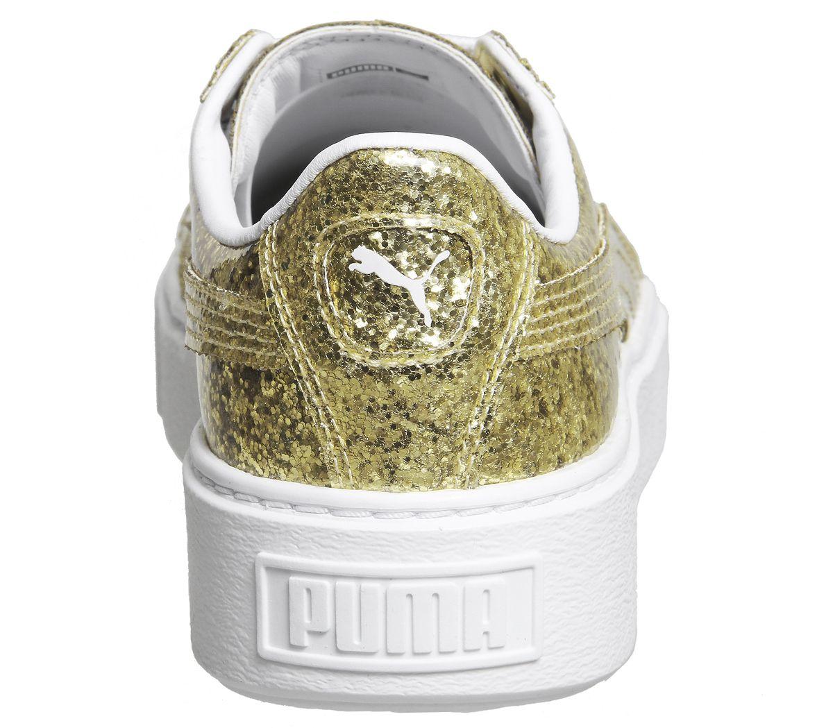 a21ec41eab934 Sentinel Womens Puma Basket Platform Trainers Gold Glitter White Trainers  Shoes