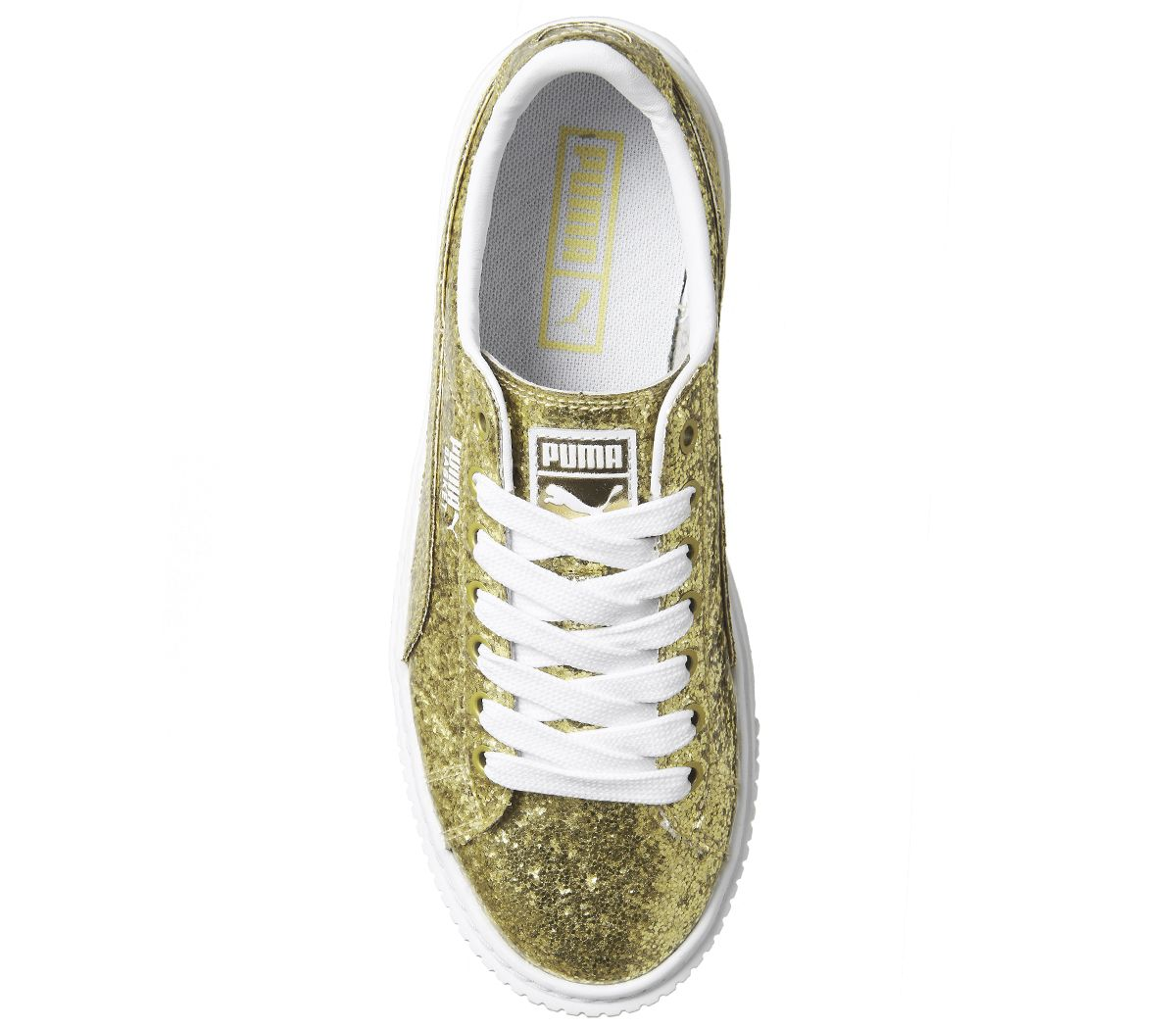 9cee2c1af1b724 Sentinel Womens Puma Basket Platform Trainers Gold Glitter White Trainers  Shoes
