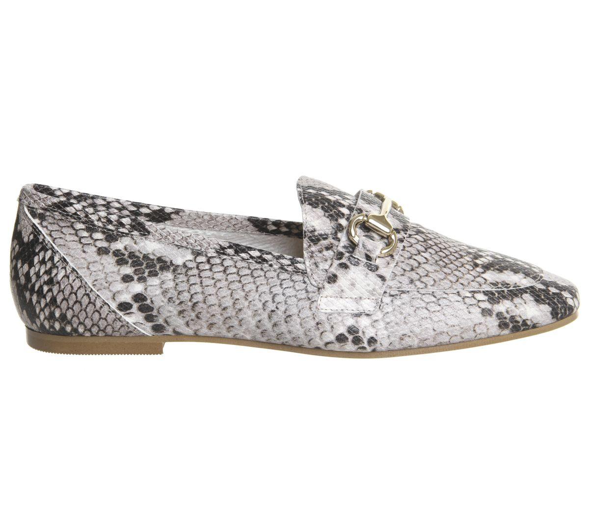da607867e0e Womens Office Destiny Trim Loafers Natural Snake Leather Flats