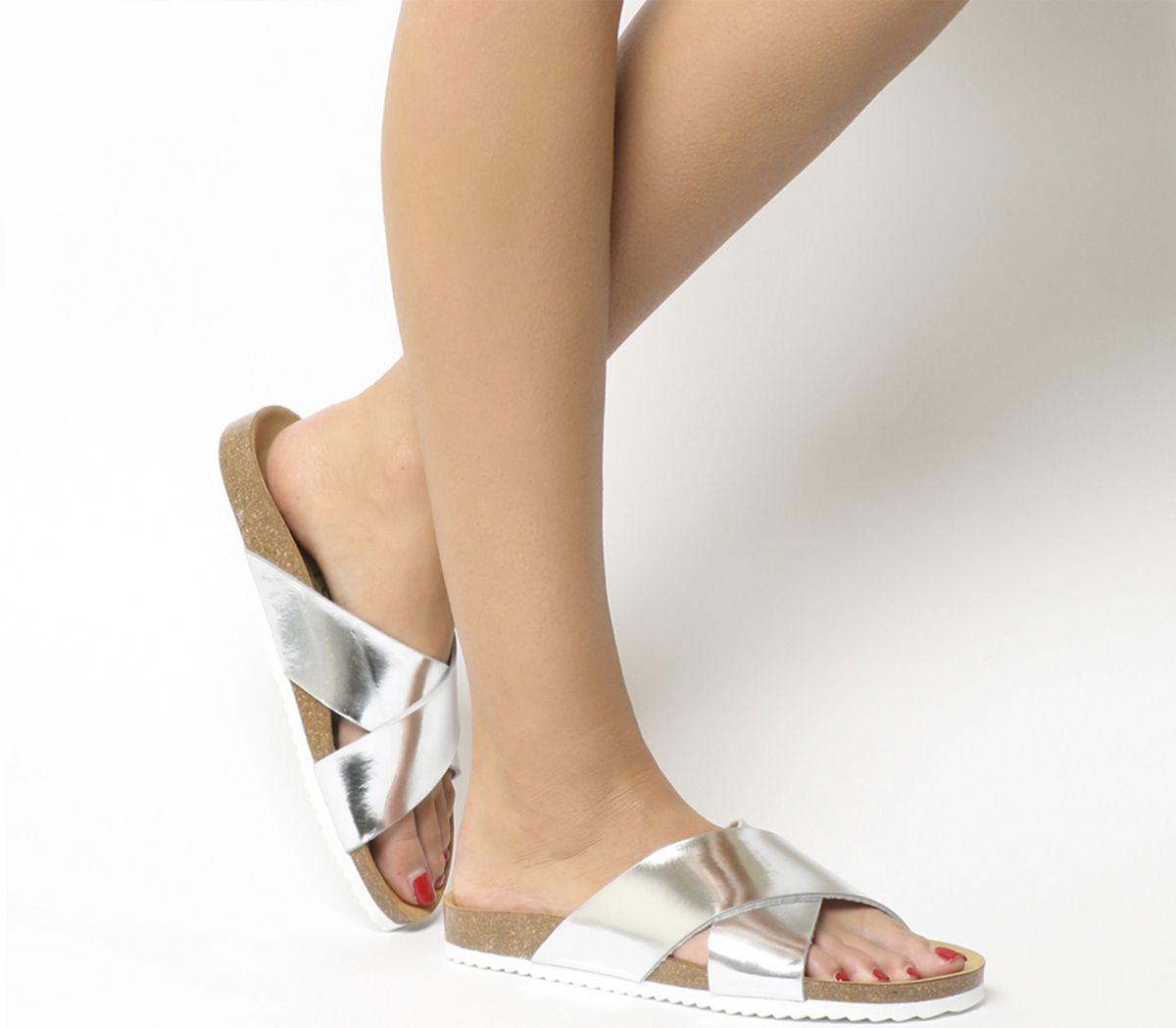 Sandalias De Mujer Oficina Hoxton 2 Plata Espejo Sandalias