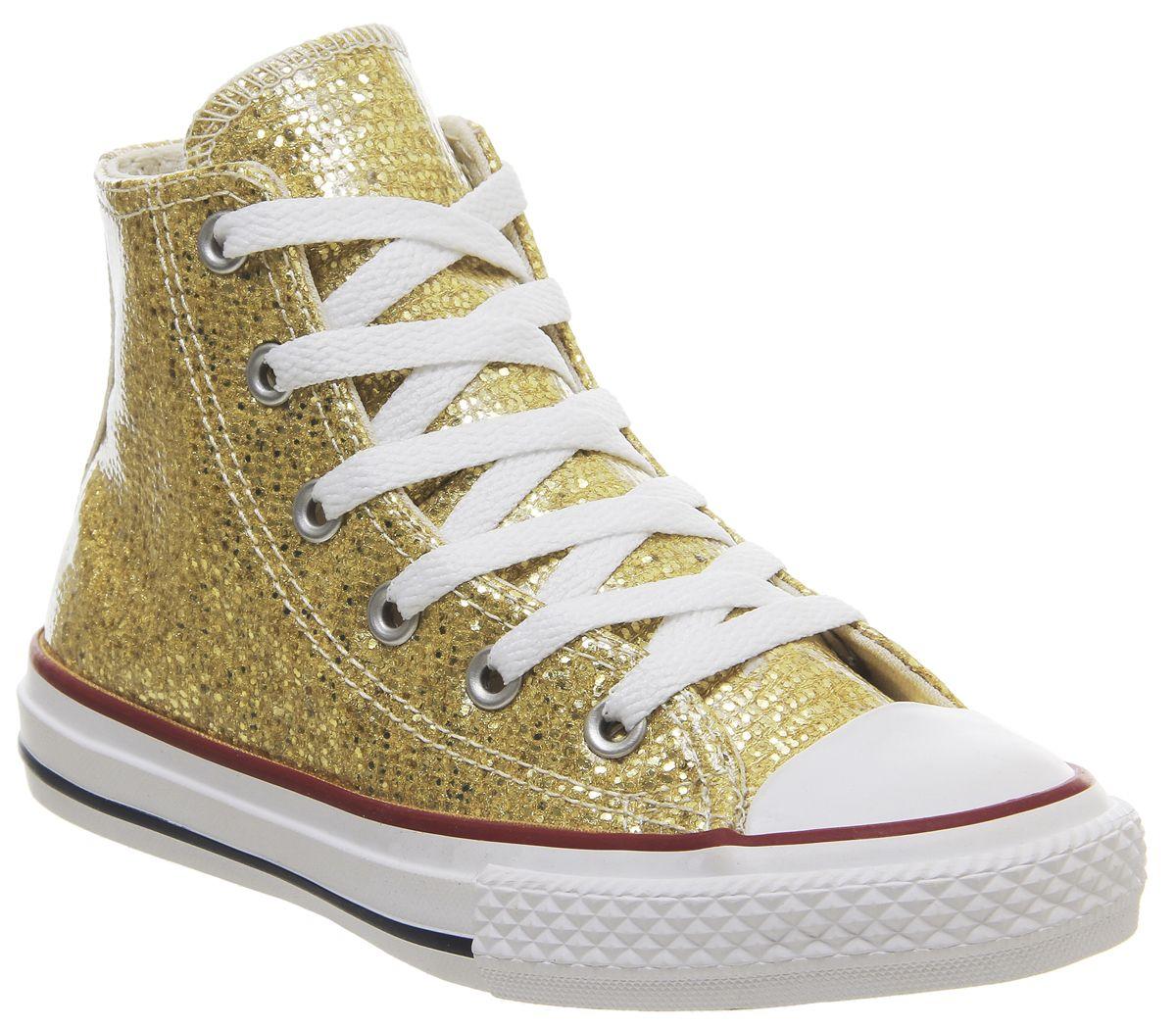 the latest 62833 a9a0d Dettagli su Bambini Converse All Star Hi Mid Scarpe Oro Glitter Bianco  Bambini