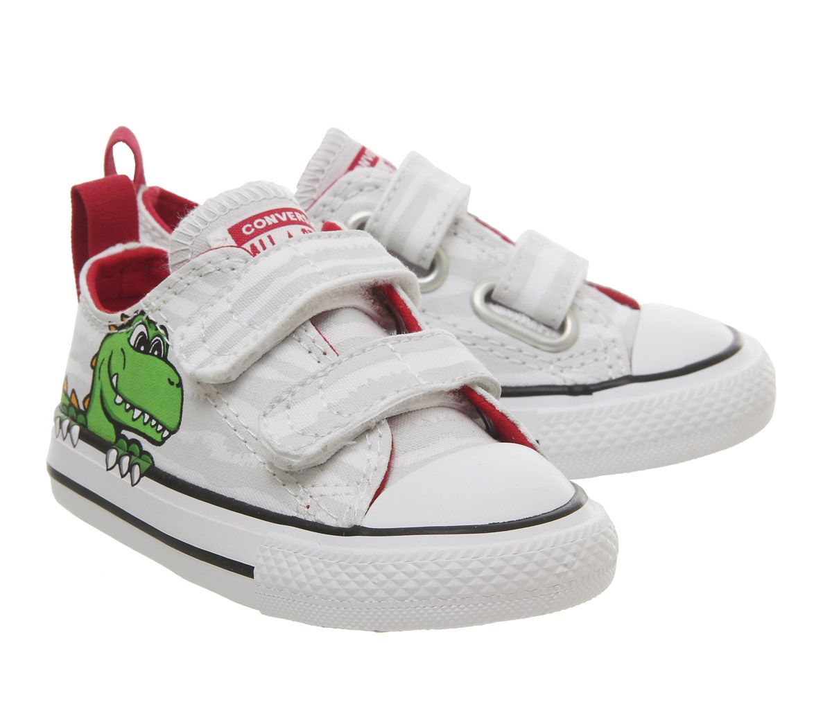 big sale 6801a db859 Sentinel Kids Converse All Star 2Vlace Trainers White Dinosaur Face Kids