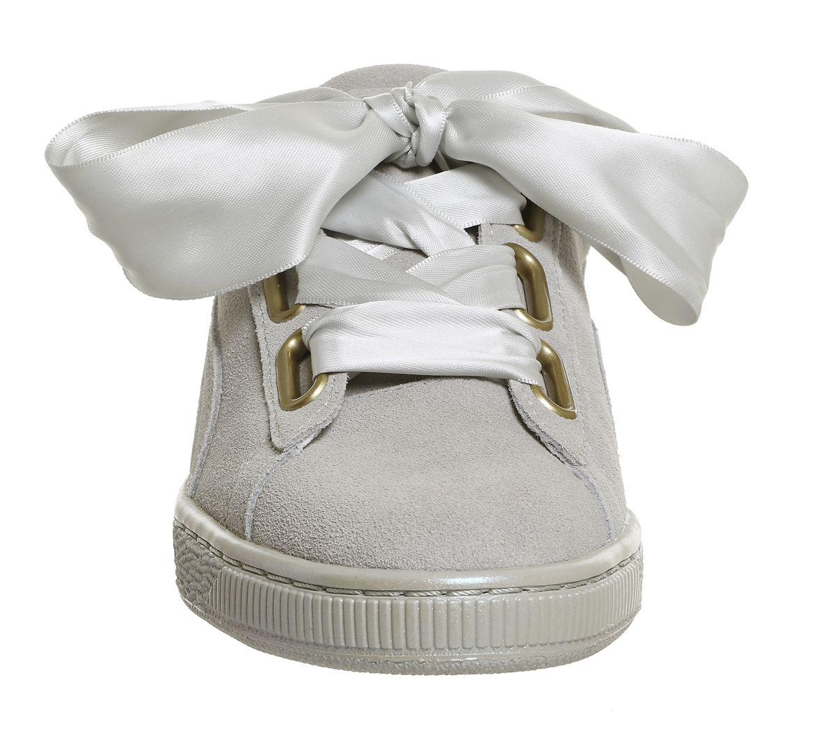 38b2c3354d Womens Puma Suede Heart Grey Violet Satin Trainers Shoes | eBay