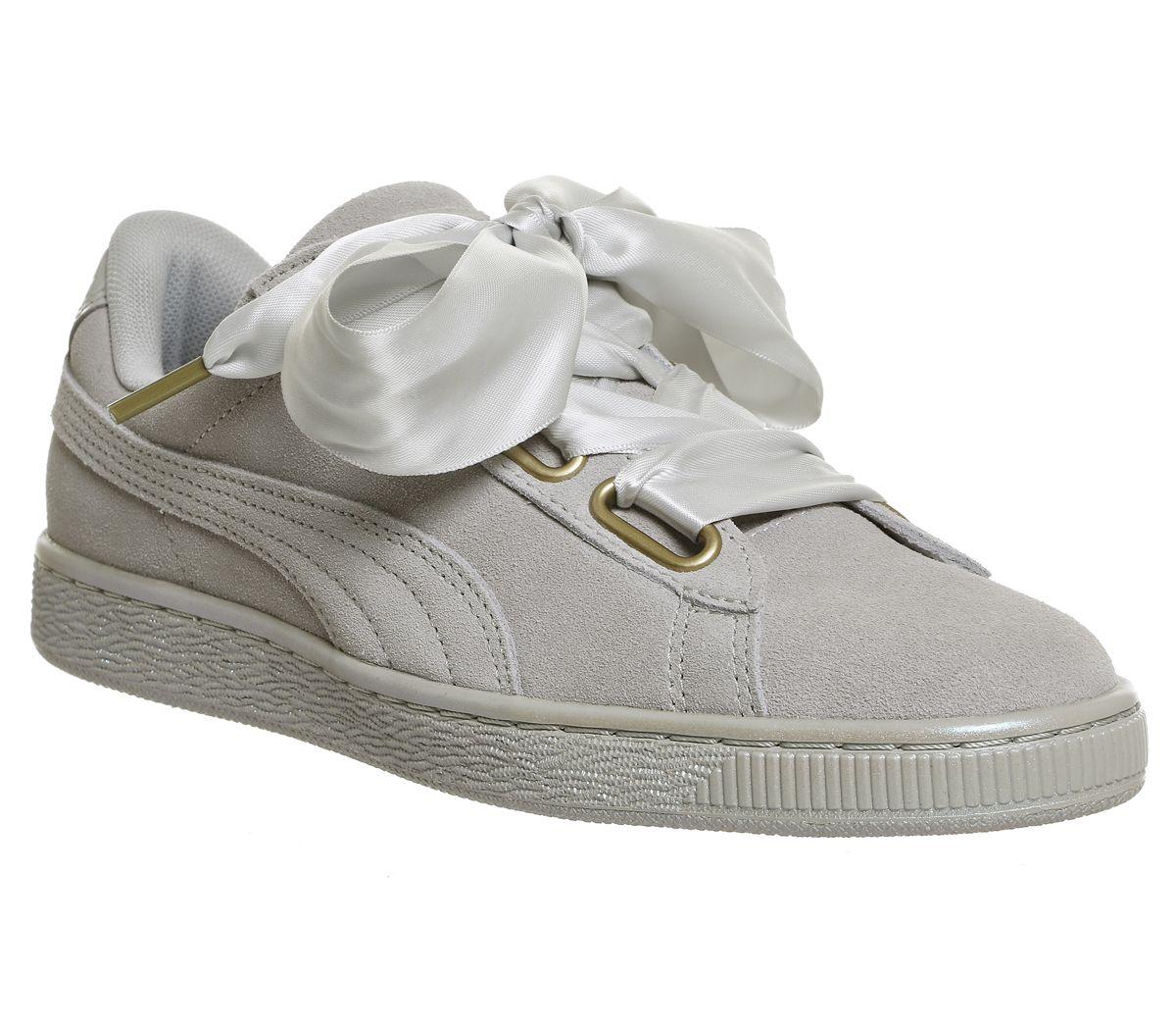 7860383430387d SENTINEL Donna Puma Suede cuore grigio viola raso scarpe da ginnastica  scarpe