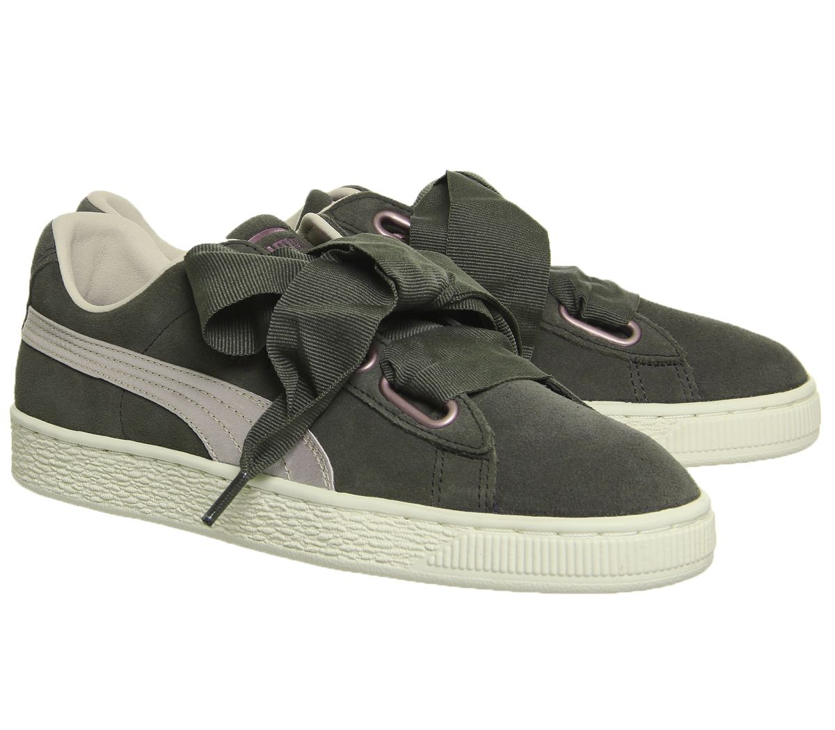 8a5432aa85 Sentinel Womens Puma Suede Heart Trainers Olive Night Pink Tint Rose Gold  Trainers Shoes