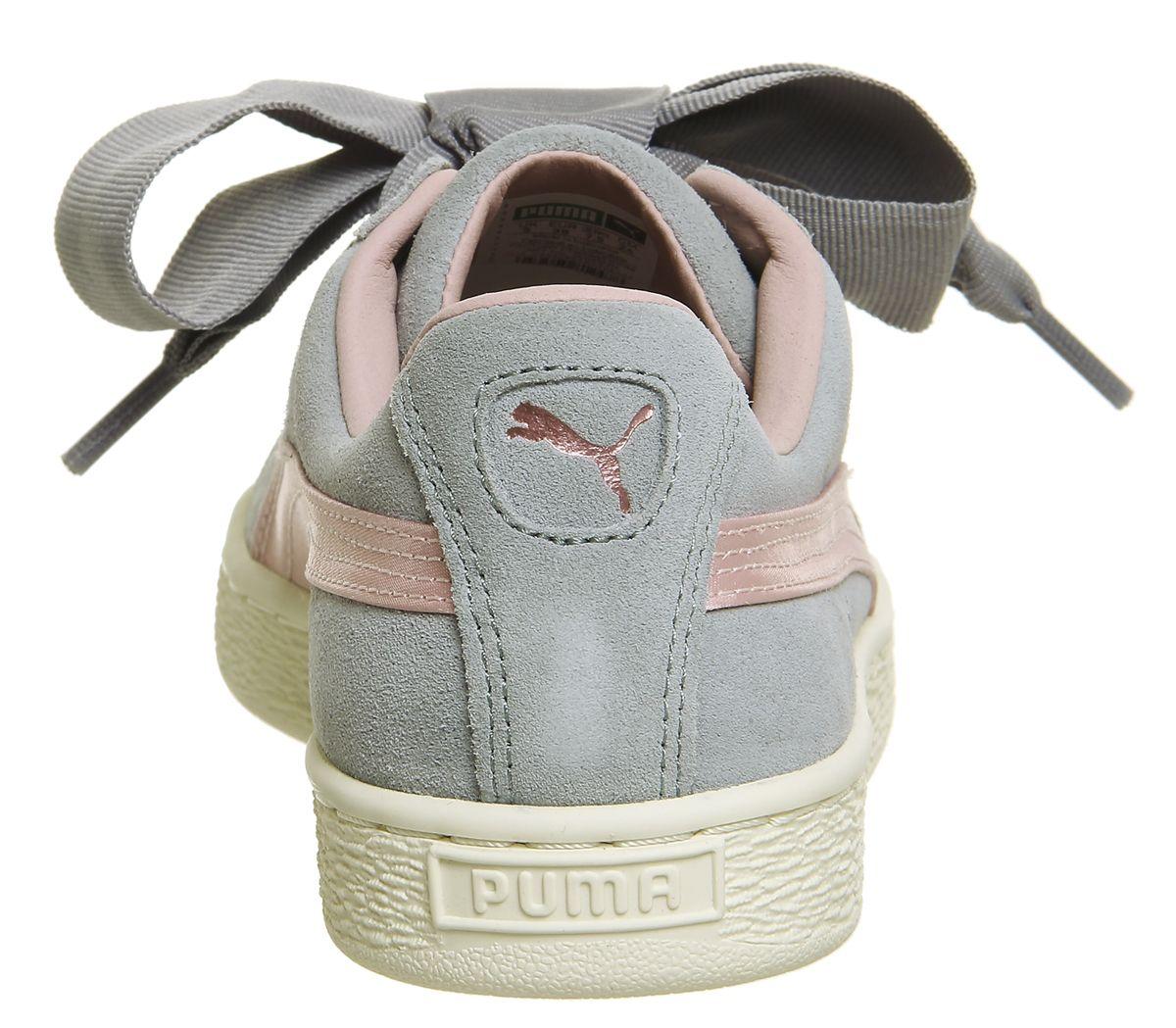 économiser 4575a fe667 Détails sur Chaussures Femme Puma Daim Coeur Baskets Quarry Argent Rose Or  Rose Baskets Chaussures- afficher le titre d'origine