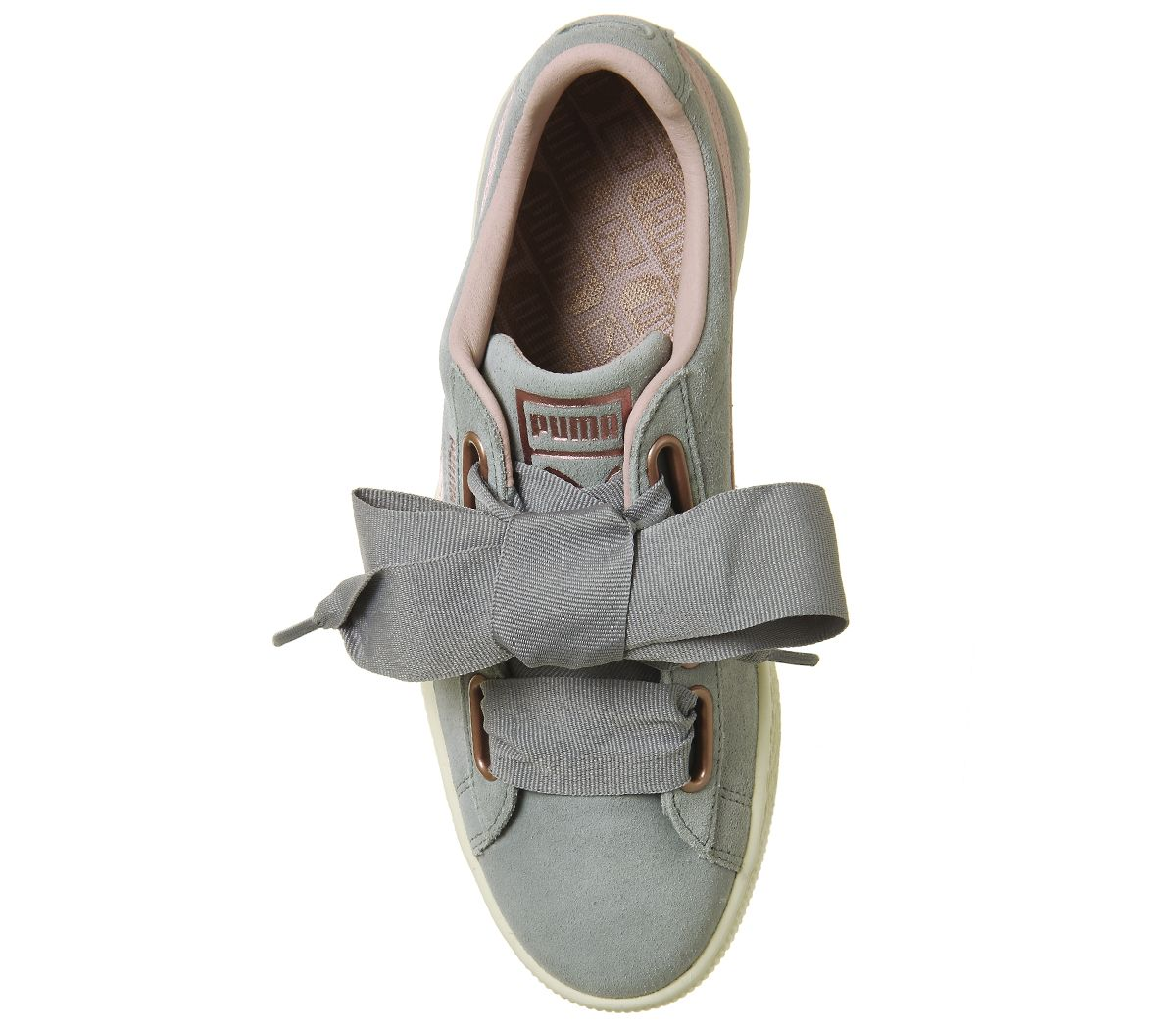 39bbede1 Womens Puma Suede Heart Trainers Quarry Silver Pink Rose Gold ...