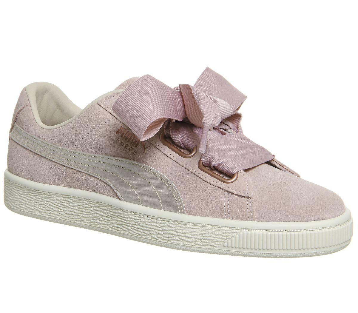 low price sale good quality premium selection Chaussures Femme Puma Daim Coeur Baskets Argent Rose TEINTE OR ...