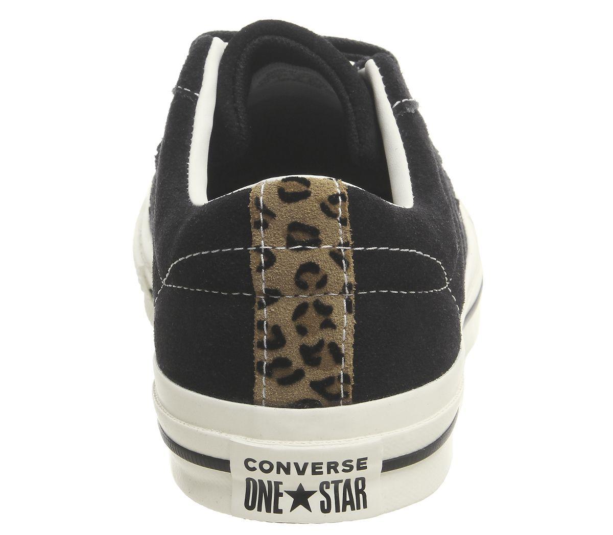 ea6ca1b6d6edd7 Sentinel Womens Converse One Star Trainers Black Egret Leopard Exclusive Trainers  Shoes