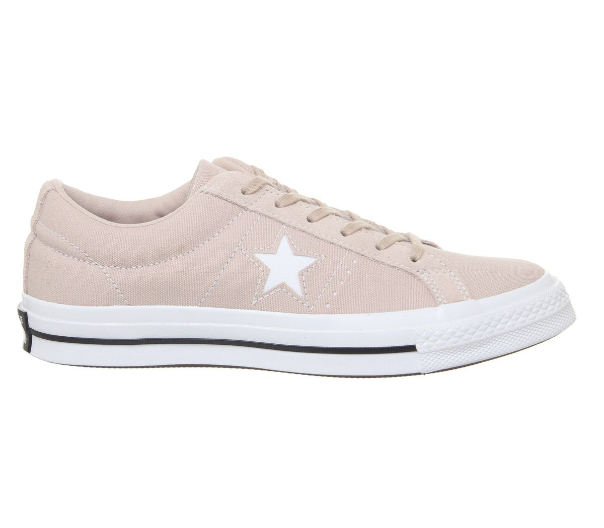 Womens-Converse-One-Star-Trainers-Particle-Beige-White-Black-Trainers-Shoes thumbnail 3