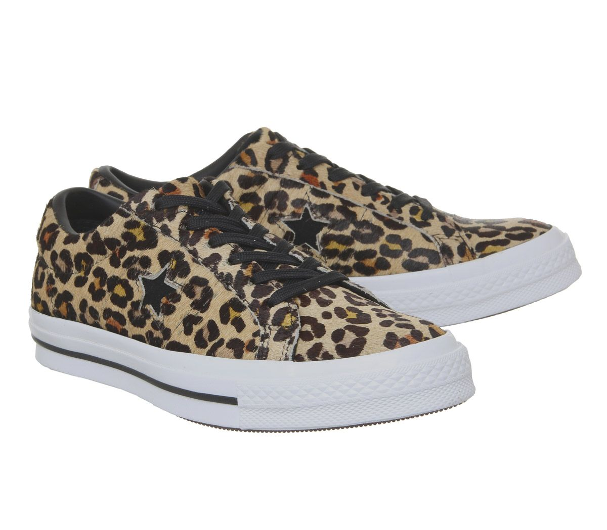 bfa37785fb0625 Sentinel Womens Converse One Star Trainers Leopard Black White Trainers  Shoes