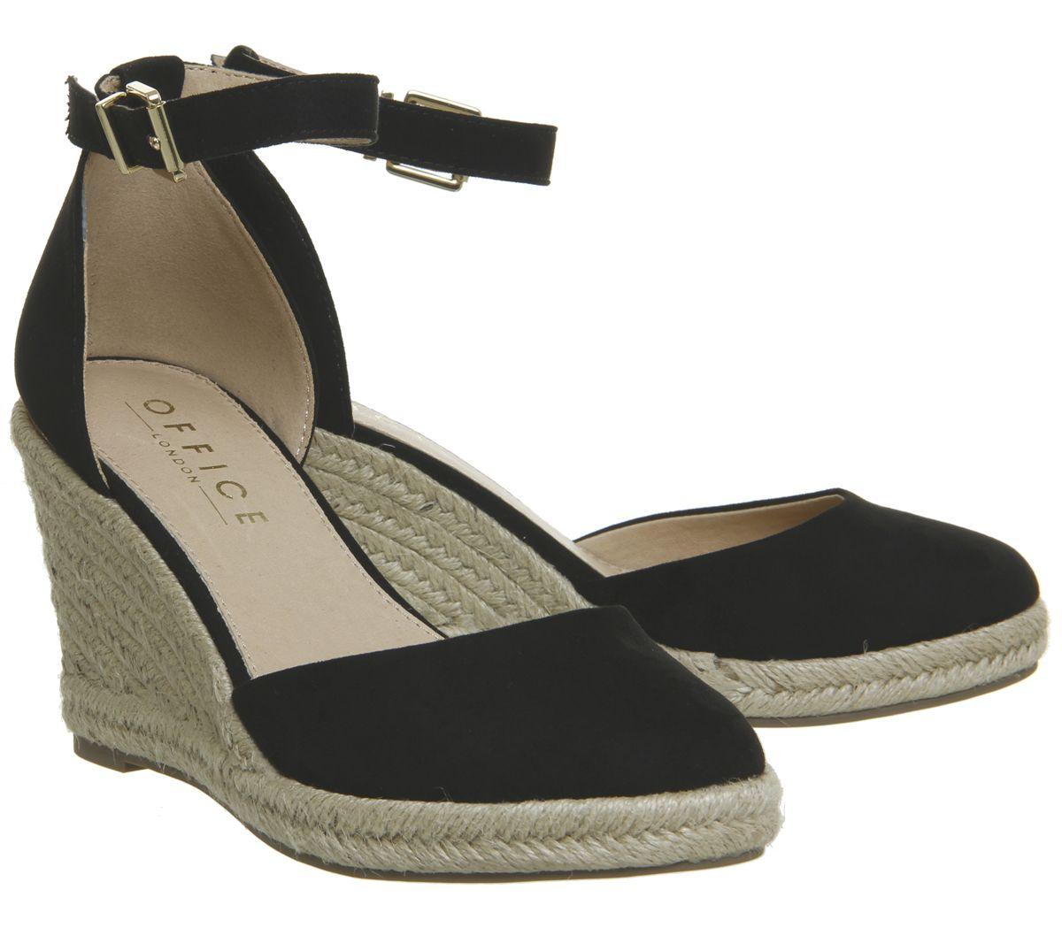 1f1dfe9c296 Sentinel Womens Office Marsha Closed Toe Espadrille Wedges Black With Gold  Heel Clip Heel