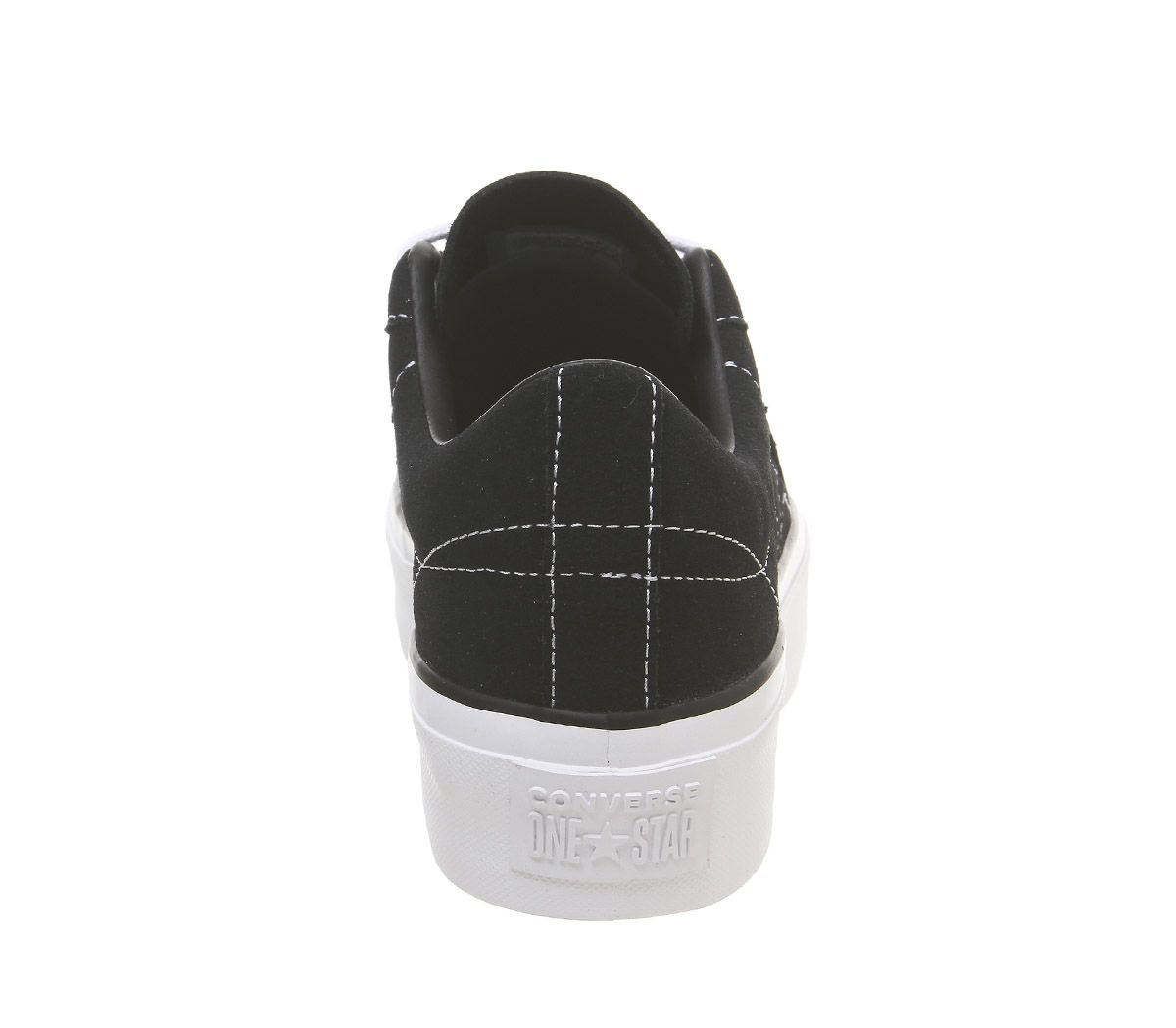 Womens-Converse-One-Star-Platform-Trainers-Black-Black-White-Trainers-Shoes thumbnail 7