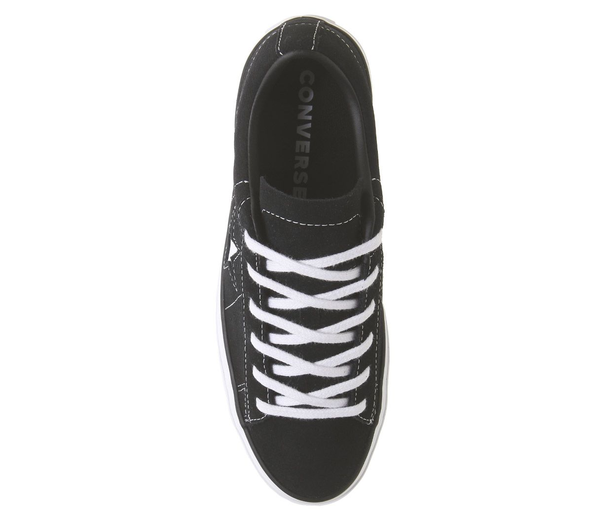 Womens-Converse-One-Star-Platform-Trainers-Black-Black-White-Trainers-Shoes thumbnail 9