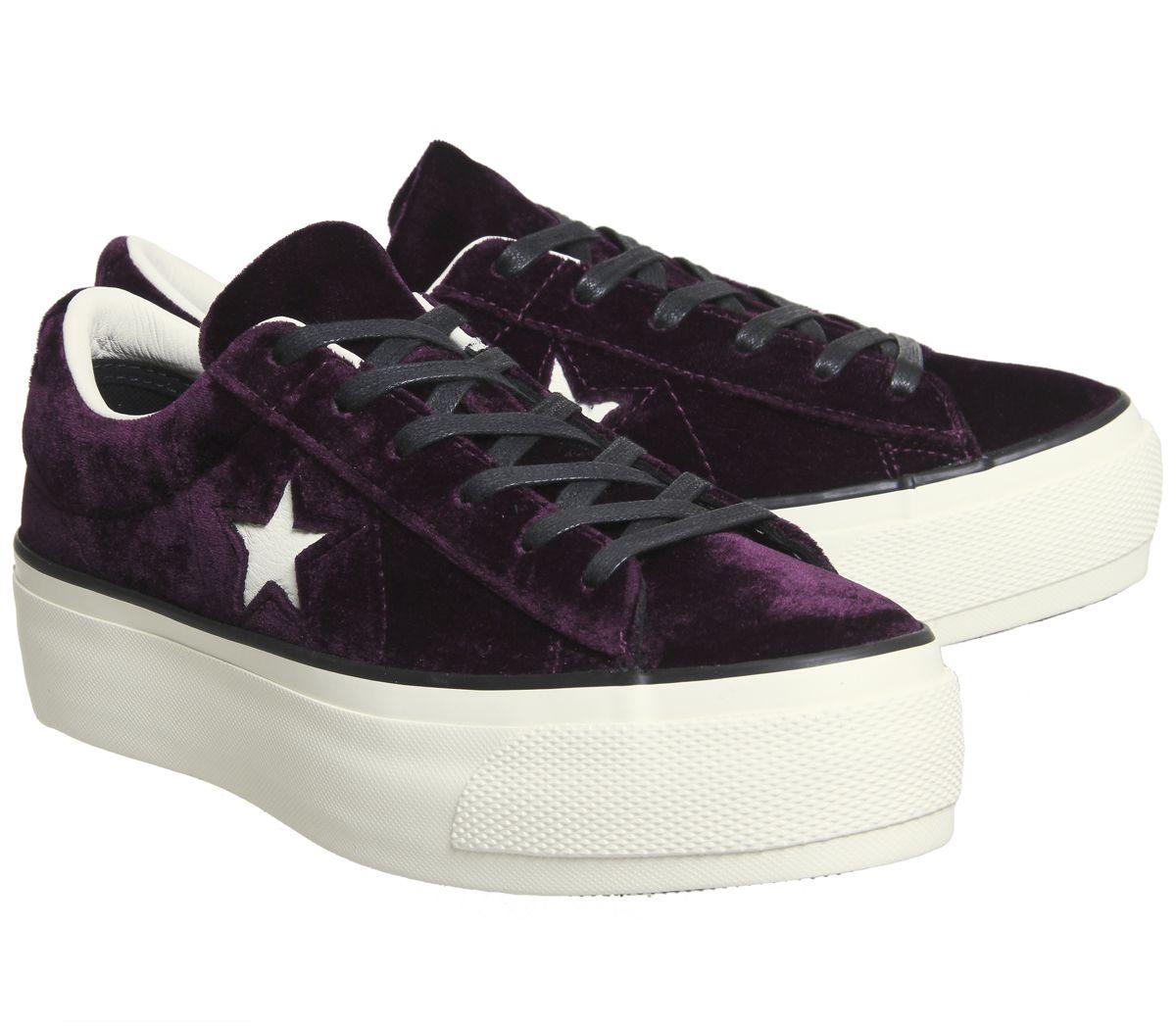 Womens-Converse-One-Star-Platforms-Dark-Sangria-Egret-Velvet-Trainers-Shoes thumbnail 7
