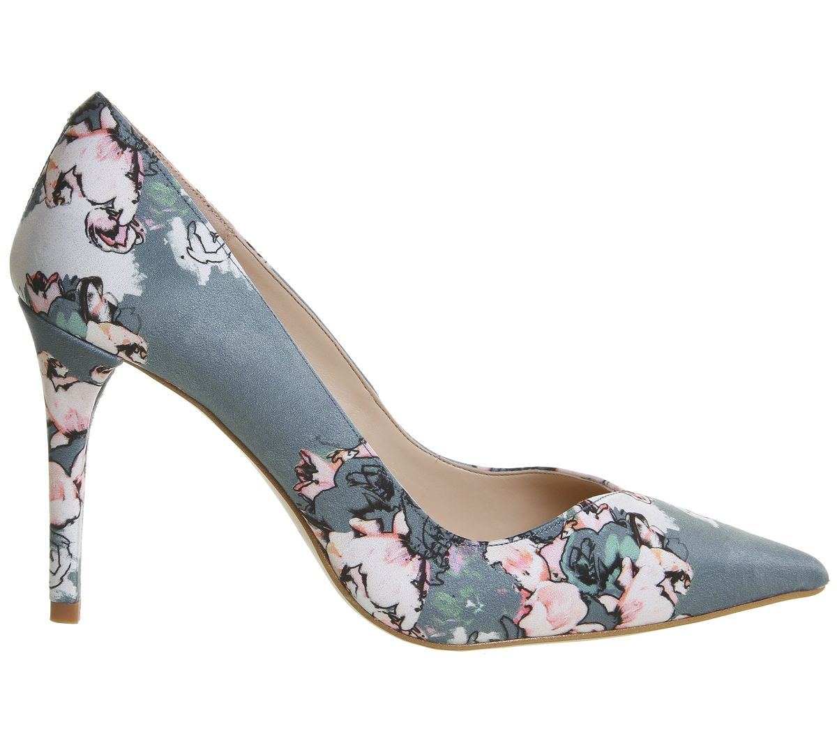 9e2b81dda2 Womens Office Hold Up Sweetheart Point Courts Floral Satin Heels | eBay