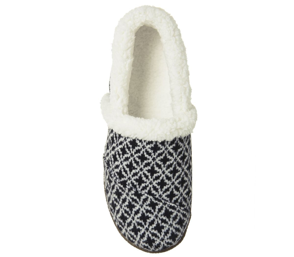 1ee9f1d88af Womens-Toms-Toms-Slippers-Blackwhite-Fair-Isle-Flats thumbnail