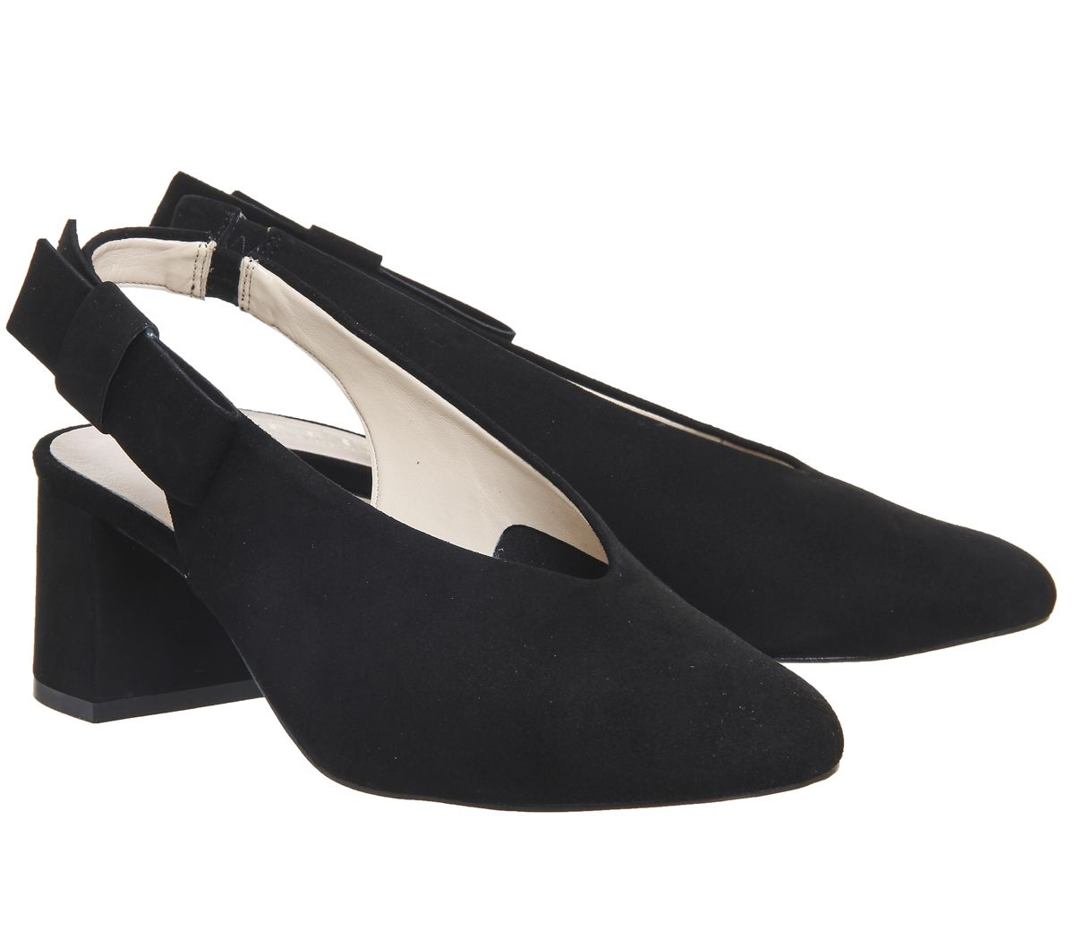 Womens-Office-Magical-Bow-Slingback-Heels-Black-Suede-Heels thumbnail 10