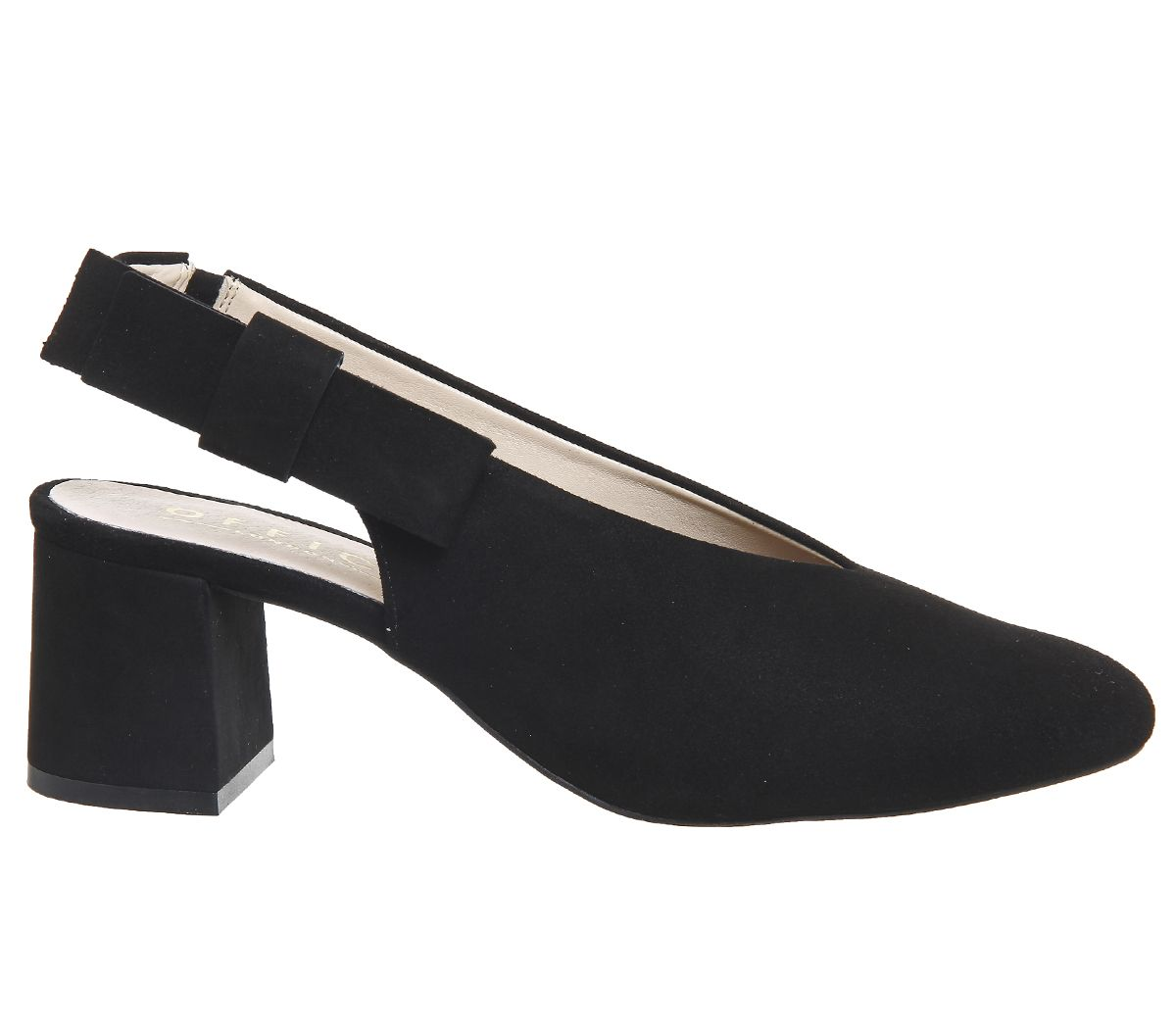 Womens-Office-Magical-Bow-Slingback-Heels-Black-Suede-Heels thumbnail 6