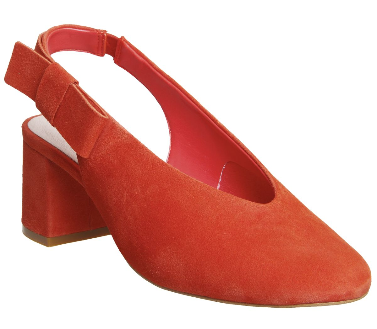 Womens-Office-Magical-Bow-Slingback-Heels-Red-Suede-Heels thumbnail 4