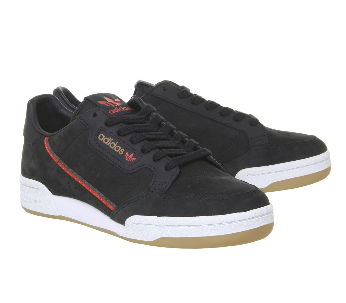 brand new eaf30 ae1f0 Sentinel Adidas Continental 80S Trainers Core Black Red Grey Gum Tfl  Trainers Shoes