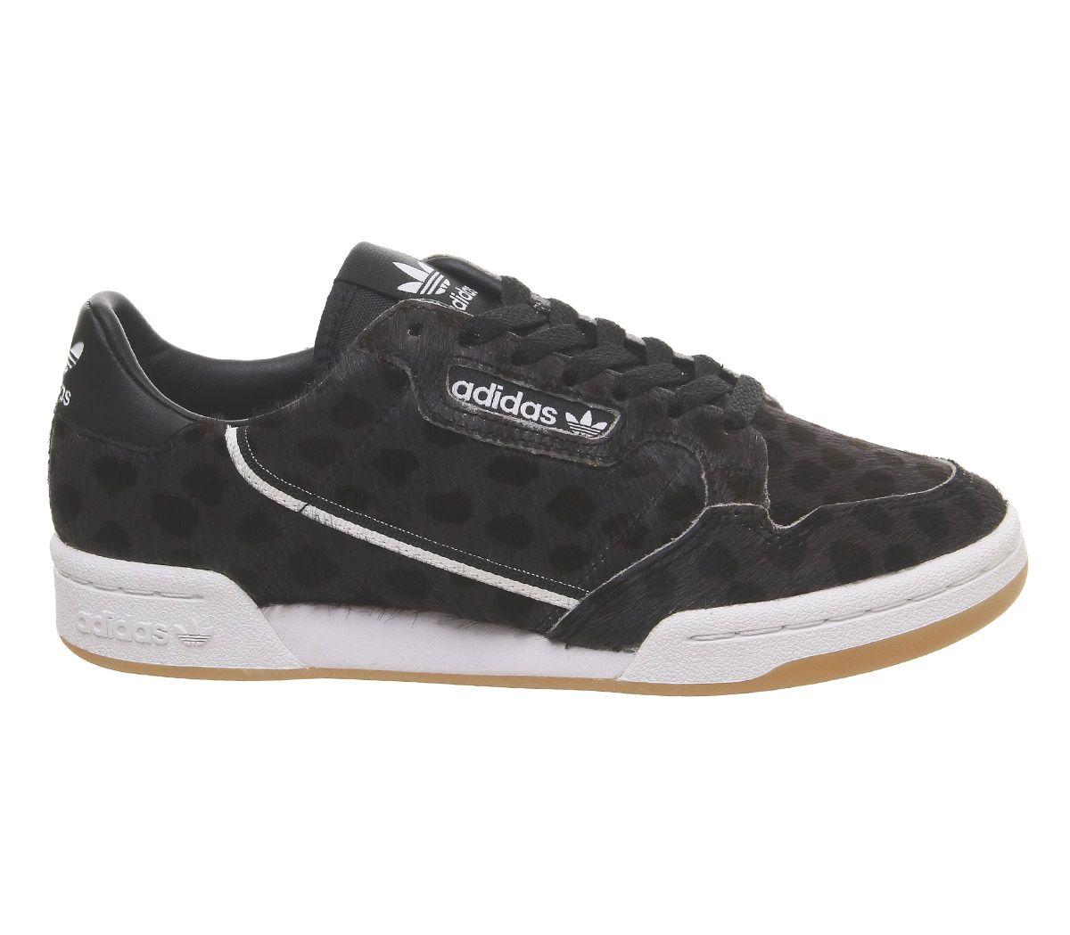 Detalles de Adidas Mujer Continental Años 80 Zapatillas Negras Cristal Blanco Goma