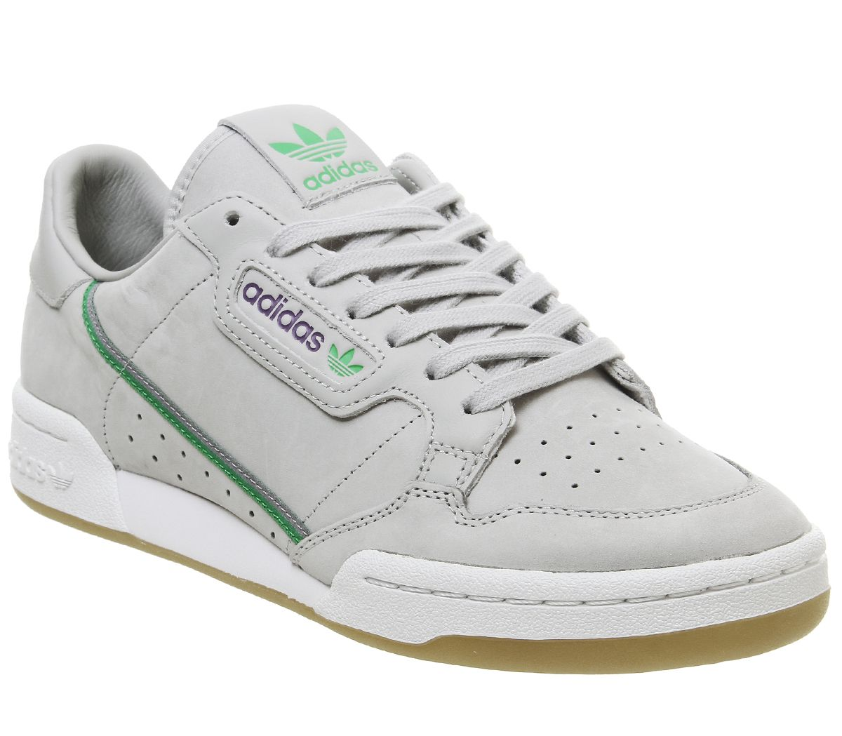 buy popular 9194d 32bae Sentinel Adidas Continental 80S Trainers Grey Green Purple Gum Tfl Trainers  Shoes