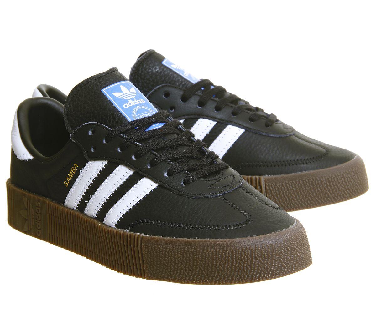 size 40 39d1c c0e70 Sentinel Womens Adidas Samba Rose Trainers Core Black White Gum Trainers  Shoes