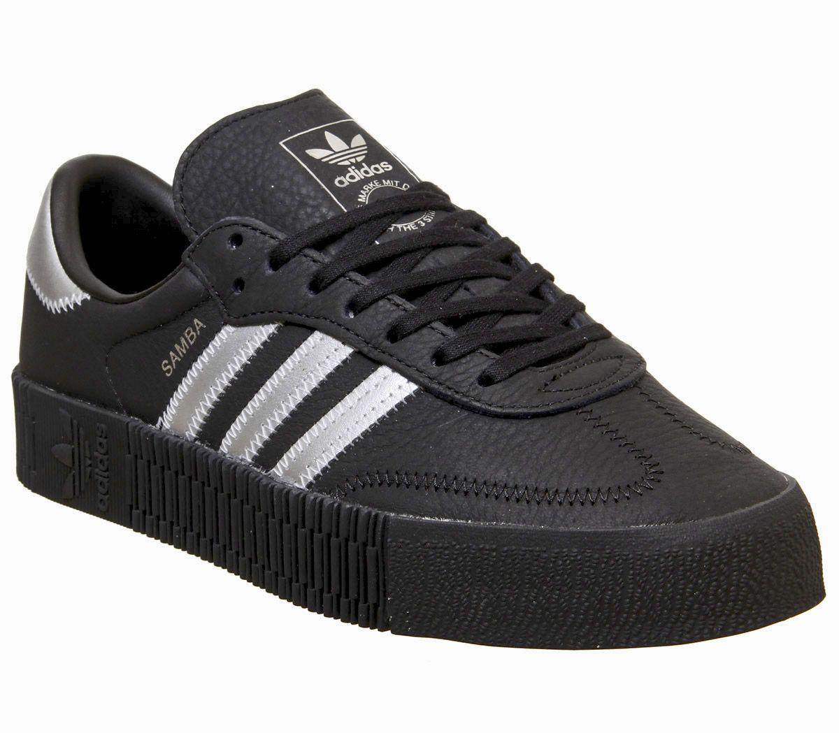 womens black & silver adidas sambarose trainers  schuh