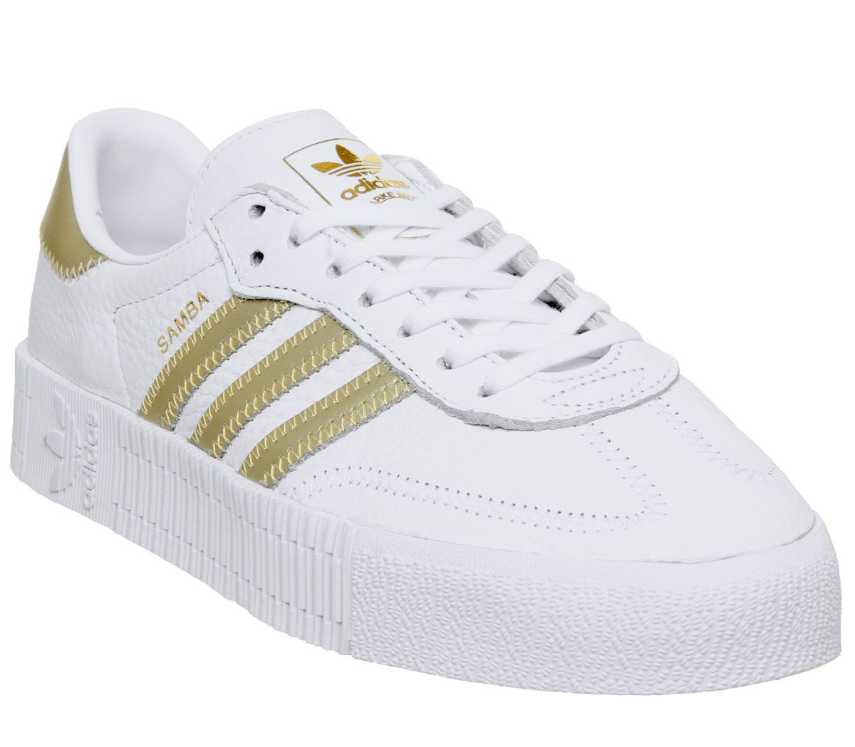 Details about Womens Adidas Samba Rose Trainers White Gold Metallic White Trainers Shoes
