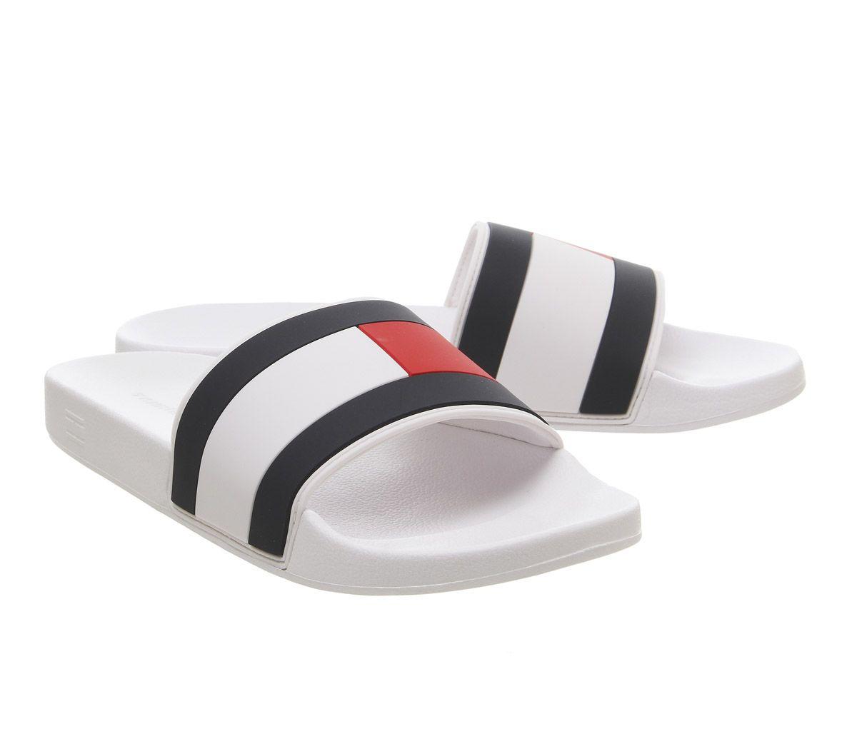 choisissez le dégagement meilleure vente magasiner pour véritable Détails sur Hommes Tommy Hilfiger Drapeau Piscine Glissières Blanc Rouge  Marine Sandales