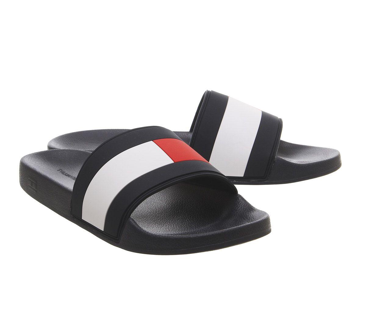 3cbe33103 Mens Tommy Hilfiger Flag Pool Slides Navy White Red Sandals