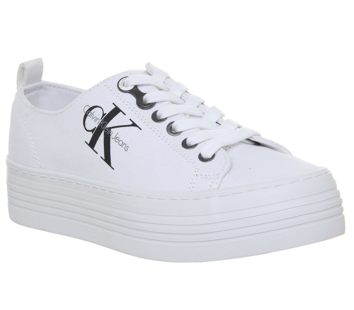 a946bb34b1 Womens Calvin Klein Zolah Flatform Trainers White Canvas Trainers ...