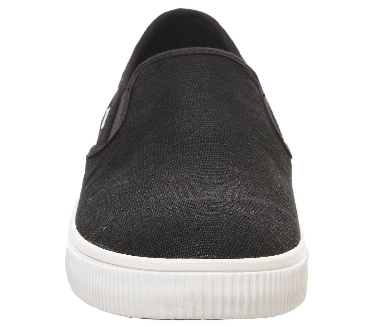 Da-Uomo-Toms-Baja-SLIP-ONS-Black-suola-bianca-scarpe-casual miniatura 3